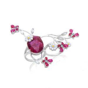 Anel duplo em Prata 925 com Rubi - Design exclusivo e acabamento de alta joalheria, joias para revender, revender semijoias, semi joias no atacado