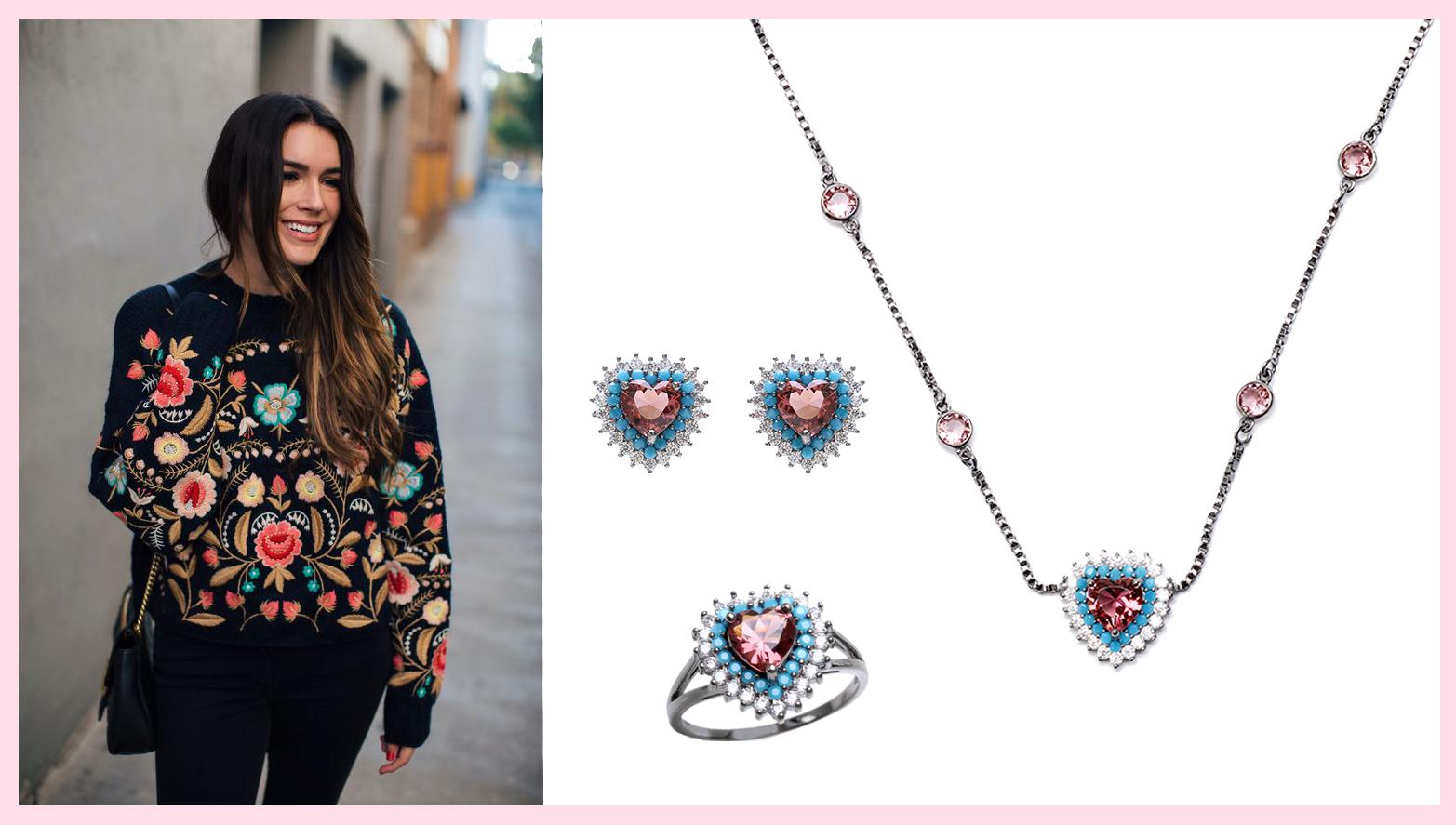 joias delicadas, como usar look despojado, moletom bordado com joias de coração, joias de coração