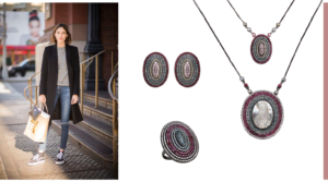 Roupa básica com conjunto de colares, colares mandala, colares coloridos, maxi colares