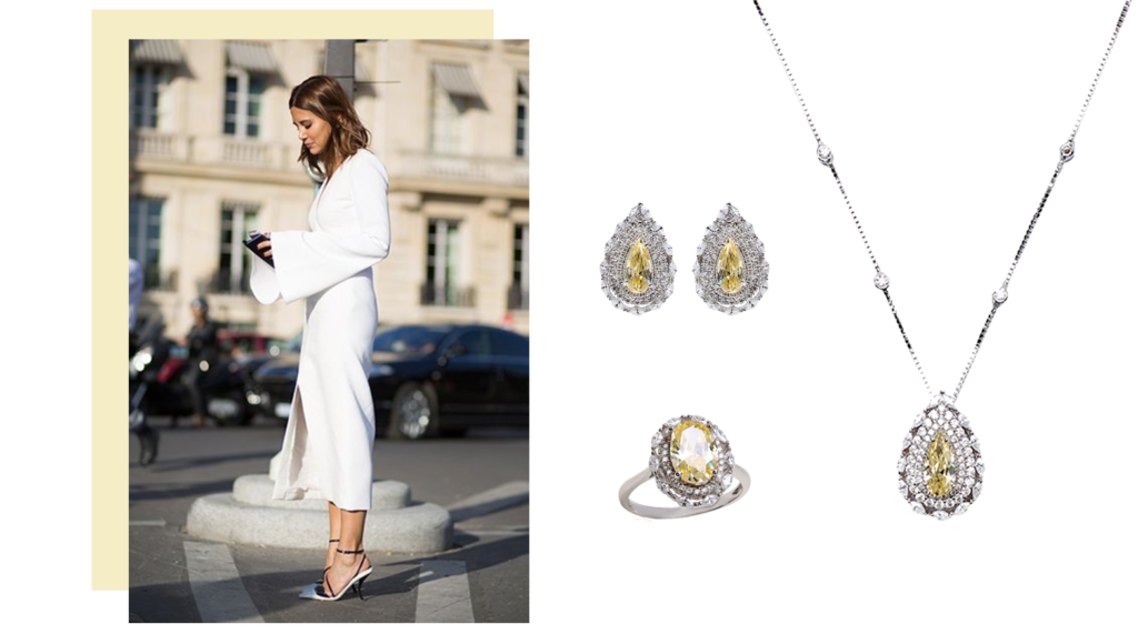 look total white combinado com joias em prata e fancy yellow, studs, brincos cristal amarelo, conjunto de brincos delicados