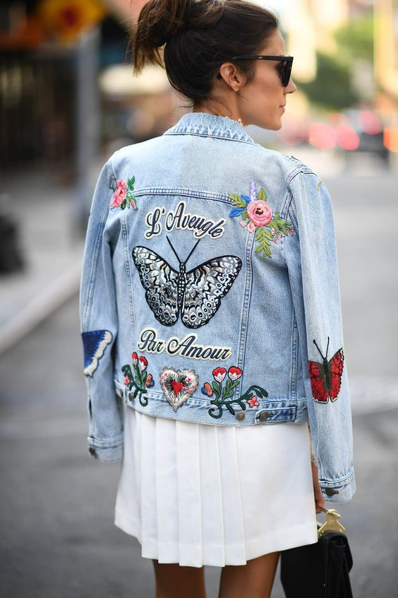 jaqueta bordada, customizacao de roupas, jaqueta jeans, bordado livre